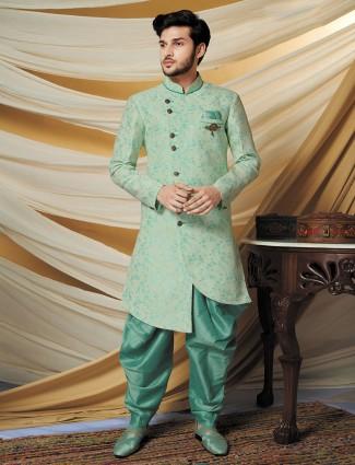 Silk pista green indo western wedding wear