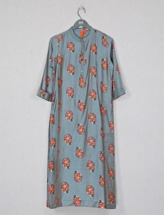 Silk printed kurti for women in grey casual wear