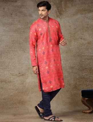 Silk red full sleeve printed kurta suit