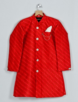 Silk red indo western with bandhej print