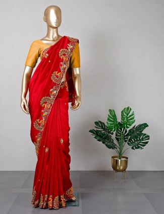 Silk red saree for women