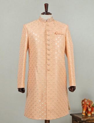 Silk sherwani in peach color for wedding