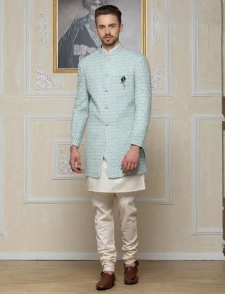 Silk sky blue work indo western for men