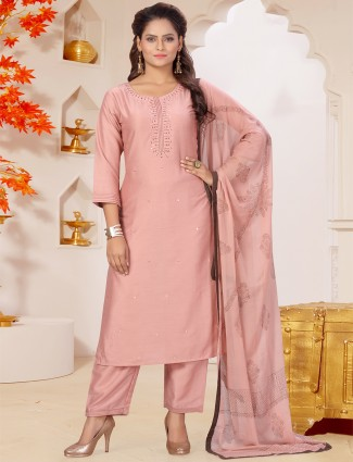 Silk solid onion pink punjabi style pant suit for casual