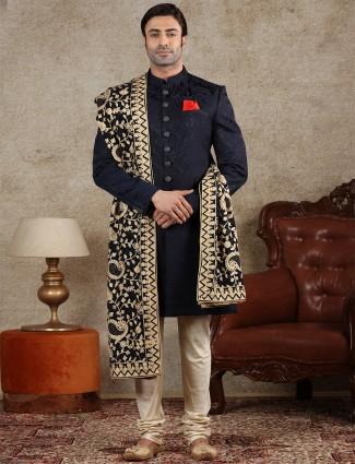 Silk textured indo western in navy