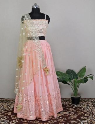 Silk traditional lehenga choli in baby pink color