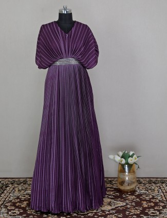 Silk violet wedding wear printed gown for gorgeous women