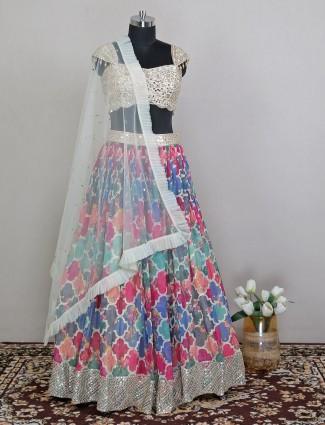 Silk wedding event lehenga choli in cream