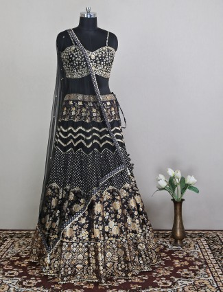 Silk wedding occasion attractive black lehenga choli