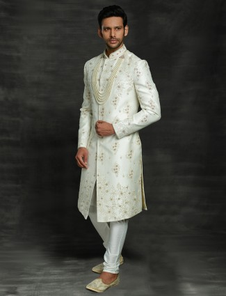 Silk wedding wear off white sherwani