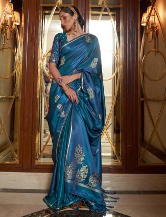 Silk wedding wear traditional peacock blue printed saree