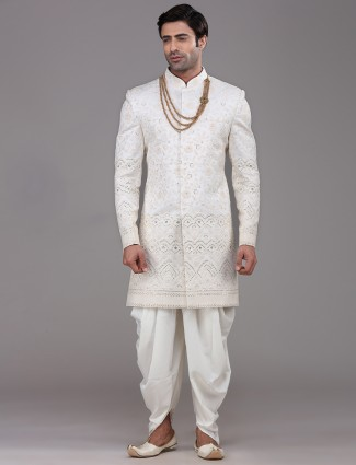 Silk white mens indo western
