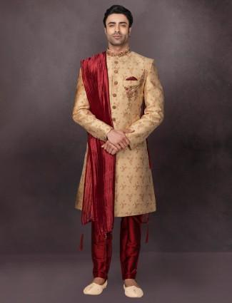 Silk cream mens indo western wedding special