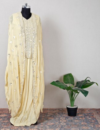 Silk yellow indowestern suit for wedding