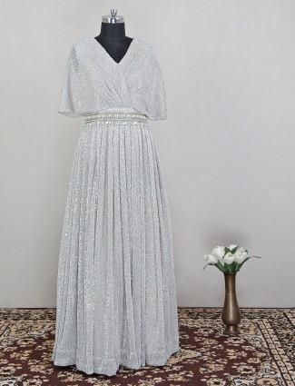 Silver colored georgette anarkali suit