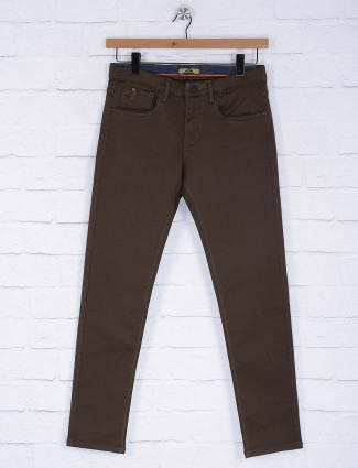 Six Element solid brown slim fit trouser