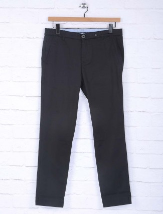 Sixth Element black solid casual trouser