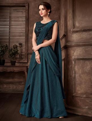 Rama green lehenga cum saree for party in lycra