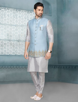 Sky blue and white raw silk waistcoat set
