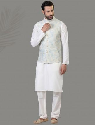 Sky blue and white silk waistcoat set party wear