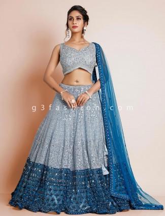 Sky blue beautiful wedding net lehenga choli