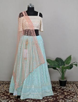Sky blue captivating lehenga choli in silk