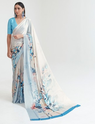 Sky blue crepe saree in printed for women