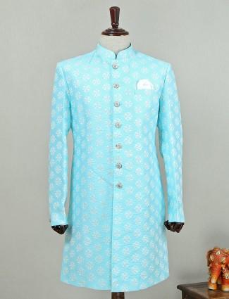 Sky blue designer silk indo western for wedding