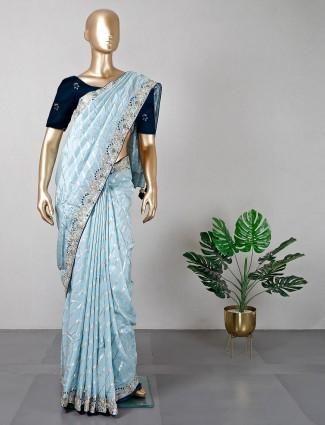 Sky blue designer wedding wear silk saree