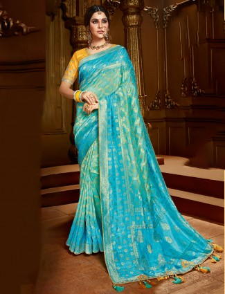 Aqua dola silk wedding function saree for women