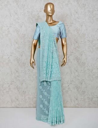 Sky blue georgette lucknowi saree