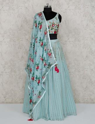 Sky blue georgette party wear lehenga choli