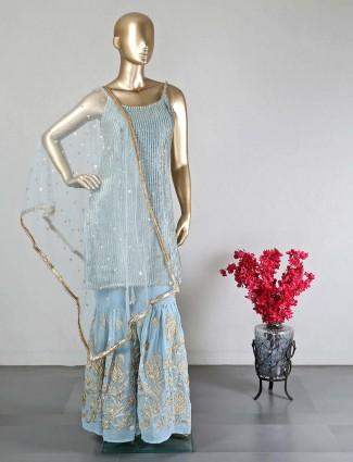Sky blue georgette sharara suit for wedding