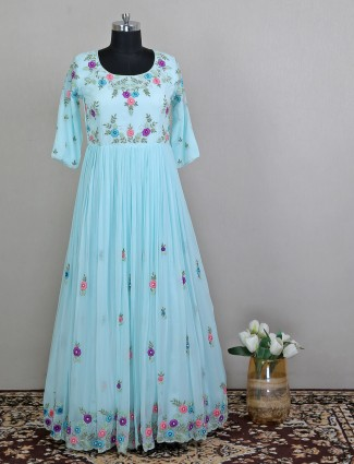 Sky blue georgette wedding functions amazing palazzo suit