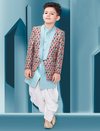 Sky blue hue raw silk fabric printed wedding wear indo western