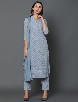 Sky blue lucknowi work punjabi salwar suit