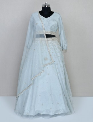Sky blue organza tissue wedding lehenga
