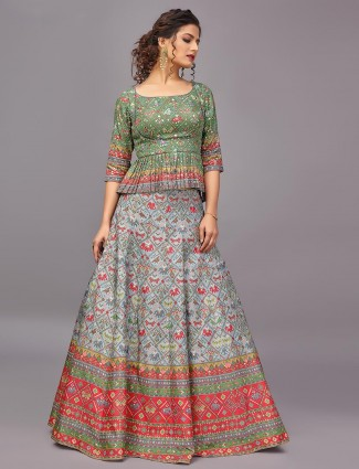 Sky blue patola silk wedding wear lehenga for women