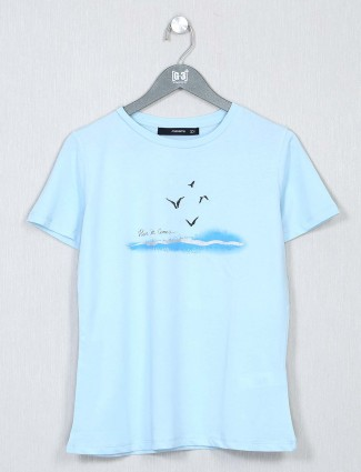 Sky blue poly cotton casual top