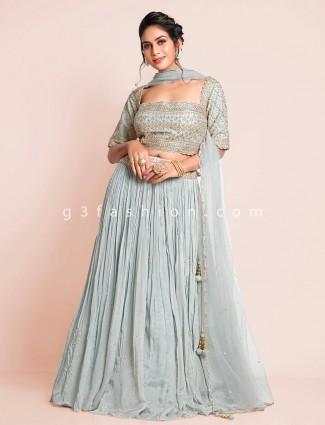 Sky blue pretty wedding wear chiffon lehenga choli