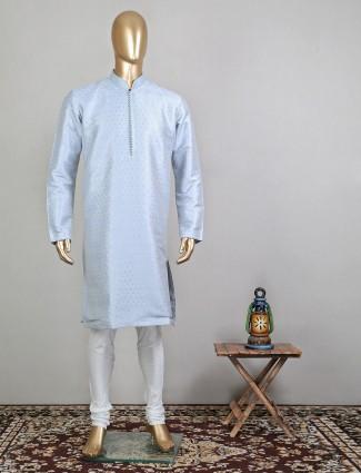 Sky blue raw silk festive kurta