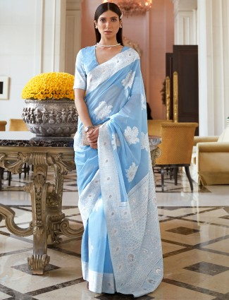 Sky blue saree for festive session in lucknow silk