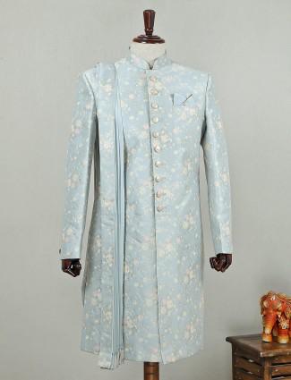 Sky blue silk indo western with churidar