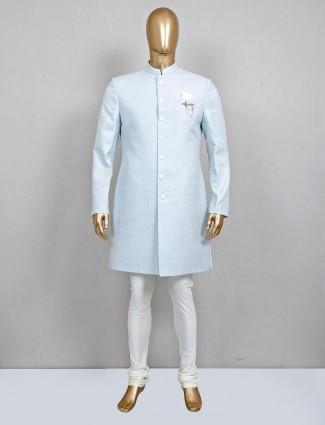 Sky blue textured cotton silk designer sherwani