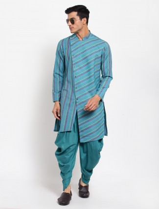 Sky blue tint festive wear kurta set in cotton silk
