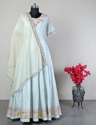 Sky blue wedding wear anarkali suit
