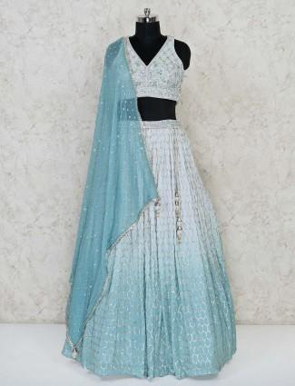 Sky blue wedding wear georgette lehenga choli