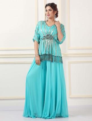 Sky blue wedding wear gerogette palazzo suit for women