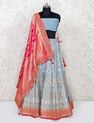 Sober banarasi silk semi stitched lehenga in grey color