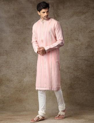 Sober pink cotton full sleeves kurta suit